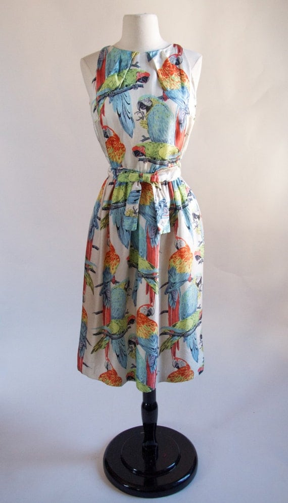 Gorgeous 1960 s silk Parrot Novelty print by VintageQueensNYC