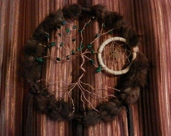 Upcycled Mink Tree of Life DreamCatcher