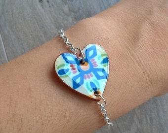 Talavera tile bracelet, Mexican tile bracelet, heart bracelet, heart tile bracelet, tile jewelry, azulejos, unique bracelets, trendy jewelry