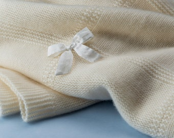 Cashmere baby blanket 100% white cashmere made in Italy luxury baby gift idea