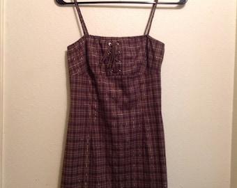 90's Strappy Brown Plaid Dress