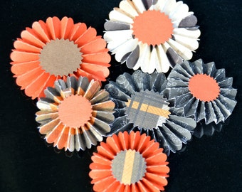 Set of 6 Fall/Thanksgiving Themed Miniature Paper Flower  Rosette Fans for Scrapbooking and Card Making, Reversible