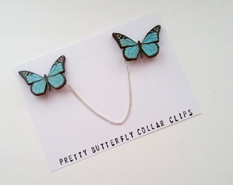 Blue Butterfly Collar Clips