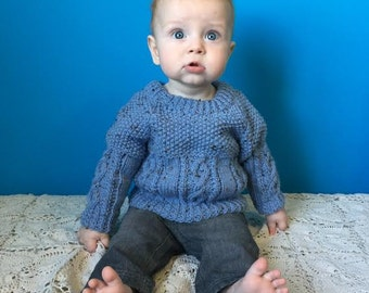 Hand Knit Baby Sweater - Baby Boy Sweater with Matching Mitts - Perfect for Baby Showers/New Mom - Baby Clothing - Knit Sweater, Blue