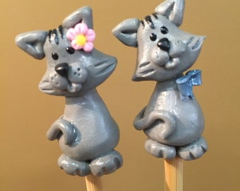 Polymer Clay Knitting Needle topper- Kitten