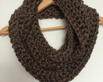 Brown Crocheted Chunky Infinity Scarf Cowl