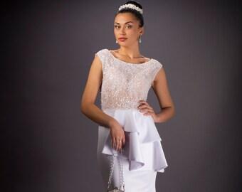 Wedding dress, Wide neckline wedding dress, White wedding dress, Lace  Bridal dress, Glam Bridal dress