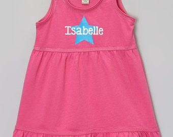 Summer Star Tank Dress.  Girls Personalized Dress.  Cute Tank Dress.   Infant, Toddler & Girls