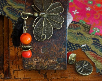 Dyed Coral Antiqued Brass Butterfly