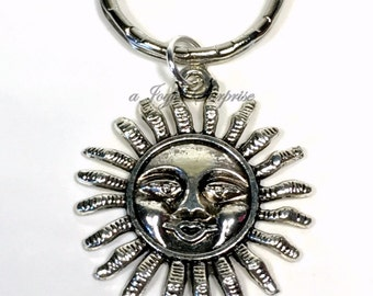 SALE - Sun Keyring, Sunshine Key chain, Silver Sunny Charm, Solar Present, Space Accessories, Happy Gifts Smiling Keychain Summer Spring 14