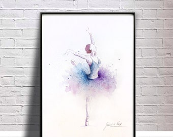 Ballerina Art Print, Purple Blue Tutu, Ballerina Artwork, Original Ballerina Watercolor, Original Ballerina Painting, Ballerina Wall Art