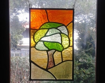 "Stained glass window panel. ""Tree"""