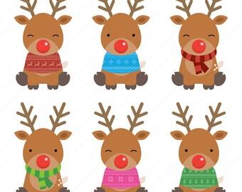 60% OFF SALE Christmas reindeer clipart reindeer head