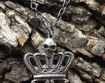 gift for men, skull crown pendent, pirates necklace, kings necklace, skull pendant