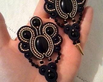 Soutache black earrings