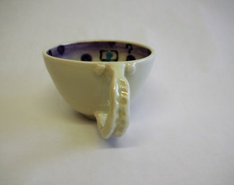 Bowl coffee character funny, turquoise, purple and white, porcelain