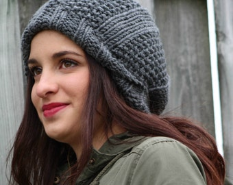 knit, hand made, bulky knit, beanie, hat, slouchy, cozy and warm