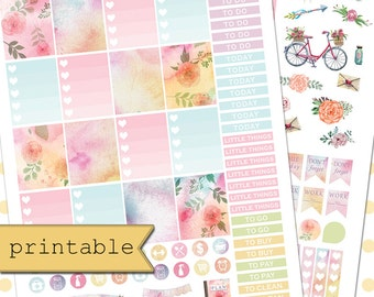 Printable Watercolor Floral Planner Stickers/Planner Stickers for use with Erin Condren Life Planner/Weekly Theme Kit/Planner Sticker Kit