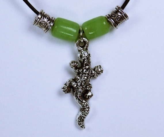 Necklace Gecko lizards silver lizard pendant and green glass beads on black leather band lizard Jewelry Green