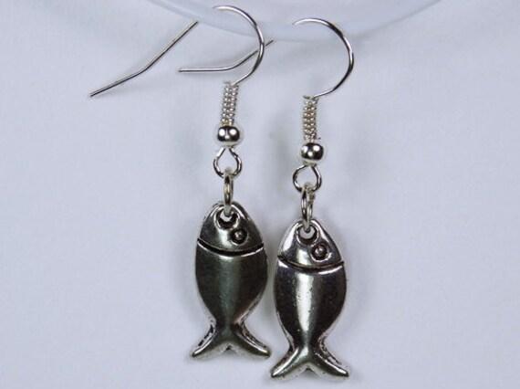 Earrings fish on Silver earrings maritime motif zodiac fish jewelry fishing Pendant earrings