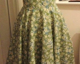 1950s dress, Full circle skirt, swing dress, sun dress, rock n roll dress,green floral, sz8-22 new