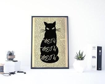 Dictionary Art Print, Cat Print, Black Cat Art, Dictionary Art Print Cat, Meow Cat Vintage Prints, Dictionary Page Art, Book Page Wall Art