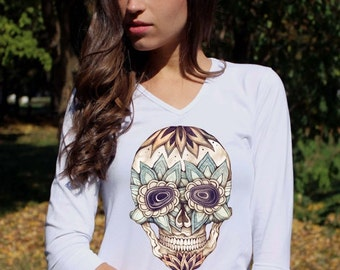 Sugar Skull Shirt Sugar Skull Shirt Skull Clothing Sugar Skull Clothing White Skeleton Floral Skull Tee Shirt V Neck Women 3/4 Sleeve Shirt