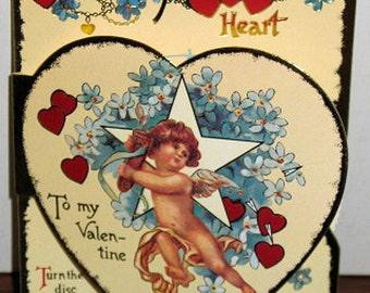 Vintage Valentines Day Card Turn-Wheel MYSTERIOUS HEART NIP B. Shackman