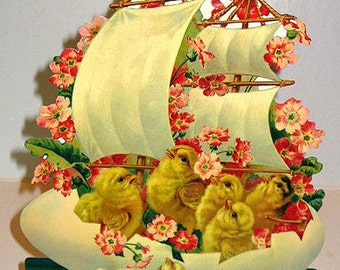 "Vintage Easter Card Stand-up Display Large 11"" CHICKS ON BOAT New in Sealed Pkg. Shackman We ship Worldwide"