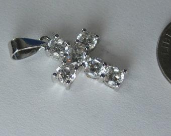 "Amazing Gem Encrusted Sterling Silver Cross Pendant .75"""