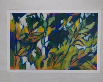 Small Abstract Original Painting on Paper - Trees