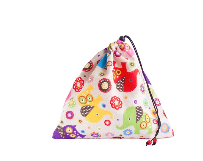 Drawstring Pouch. Fabric Gift Bags. Drawstring Bag, Toy Storage, Library Bag