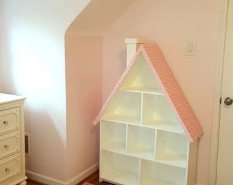 Kid's Bookcase (with shingles & chimney) -- Designed to resemble a Dollhouse!