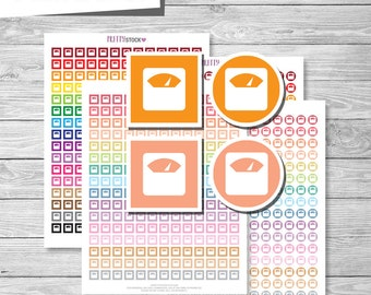 Scale Weight Planner Stickers, Scale Weight Printable Stickers PDF, Circle and Square Scale Weight Icons Stickers - Instant Download // PS26