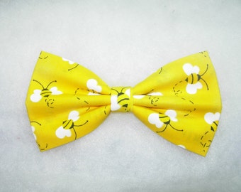 Buzzing Honey/Bumble Bees on Yellow Pre-Tied Bow Tie