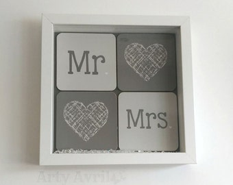 Mr and Mrs framed wedding gift, White and Grey Anniversary present, Love heart marriage gift,  contempory wedding gift