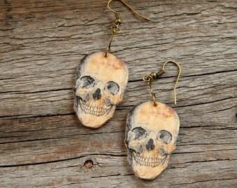 Skull earrings, Halloween earrings, Scary earrings , skeleton earrings, flesh-colored, bronze earrings, beige earrings
