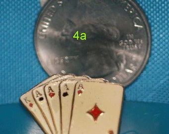 vintage playing cards hat pin and pin back  == 4a