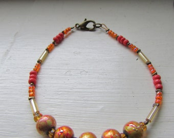 Orange bracelet , Beaded bracelet , Mixed bead bracelet , Wire bracelet