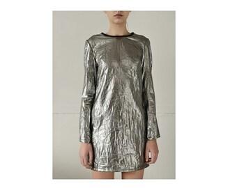 SALE, Silver Dress, Avant Garde Clothing, Club Dress, Futuristic Clothing, Extravagant Dress, Designer Dress, Burning Man Dress
