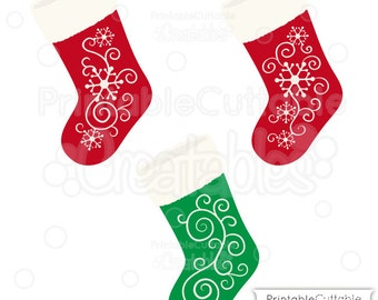 snowflake flourish christmas stockings svg cut file u0026 clipart includes limited commercial use