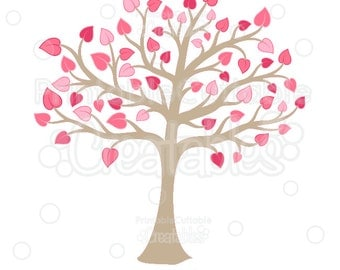 Valentine's Heart Tree SVG Cut File & Clipart - Includes Limited Commercial Use!