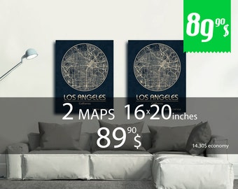 SALE! Set of 2 maps 16x20 inches + discount. Great deal - 14.30 dollars saving - set of 2 map print with discount!