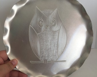 Vintage aluminum tray with Owl, free shipping!