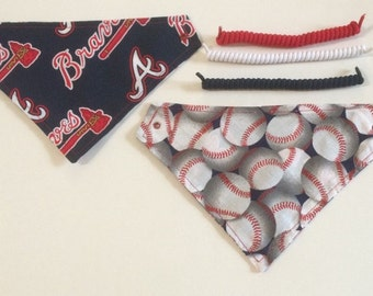 Atlanta baseball fabric,  reversible custom pet bandana, dog scarf, pet scarf, dog bandana, pet clothing, pet attire, baseball bandana