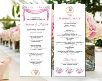SALE ! Printable Wedding Program  | DIY Floral Wedding Ceremony Program | Editable Microsoft Word Template | Instant Download | Wp-037