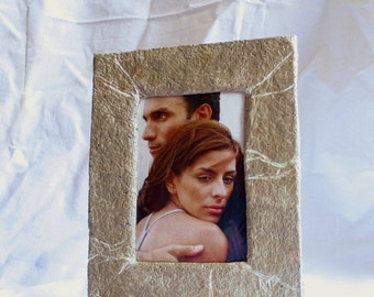 Stone effect photo frame, Paper stone picture holder, Desk photo frame, Paper mache frame for photos, Table picture frame, Paper photo frame