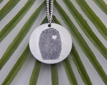 Custom Personalized Fingerprint With Heart Necklace - Personalized Fingerprint Jewelry - Fingerprint Pendant - Memorial Jewelry