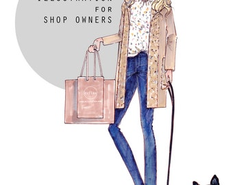 Custom Fashion Illustration, Shop Banner, Shop Illustration, Pet Portrait, Fashion Art, Custom Gift, Digital, Shop art, Shop Banner