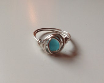 Silver  Wire Ring with Sea Blue Bead, Size 6